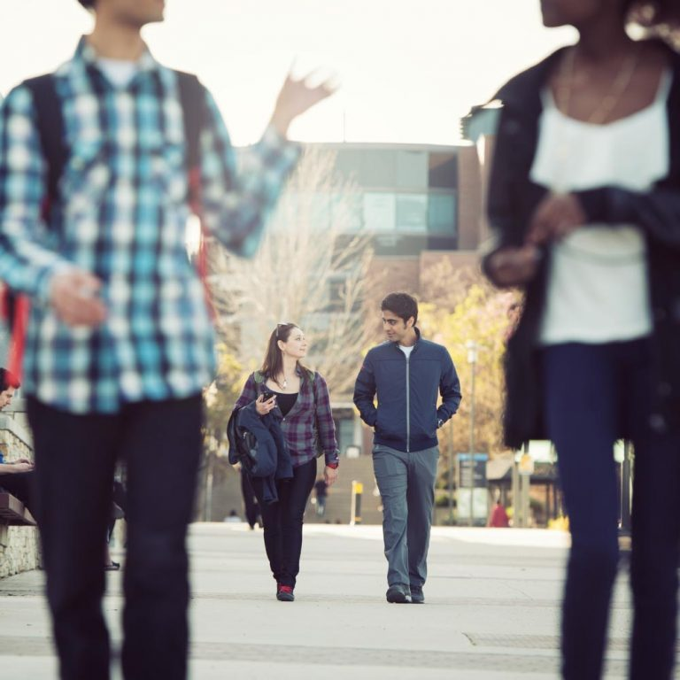 Students walking on Okanagan campus