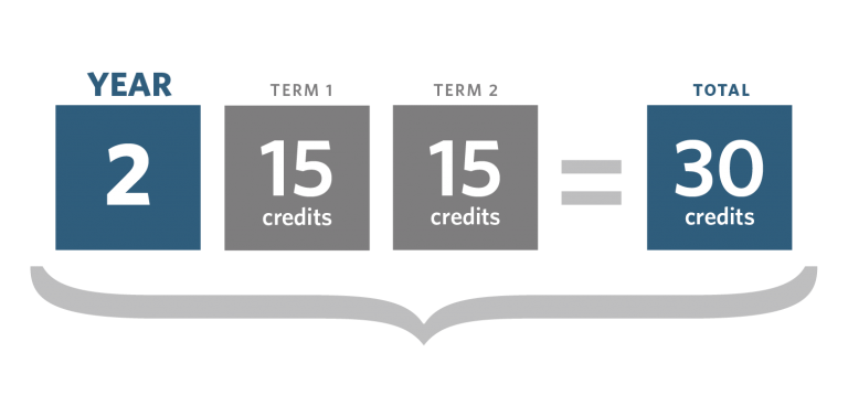 Graphic showing year 2 credits can be split into 15 credits in term 1 and 15 credits in term 2, making a total of 30 credits