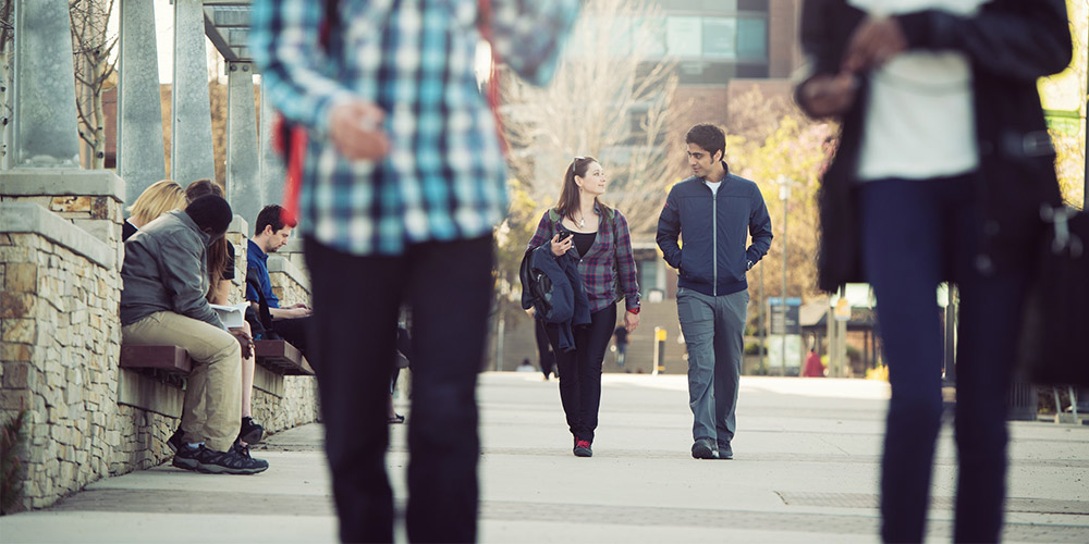 Students walking on UBCO campus